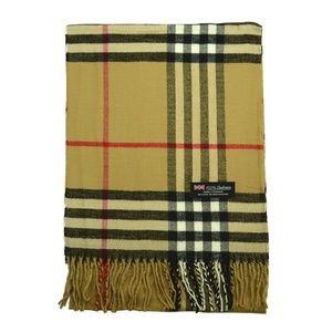 Burberry like plaid 100% pure cashmere scarf